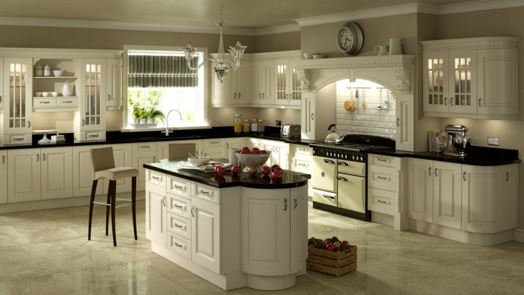 Traditional kitchen with black worktops