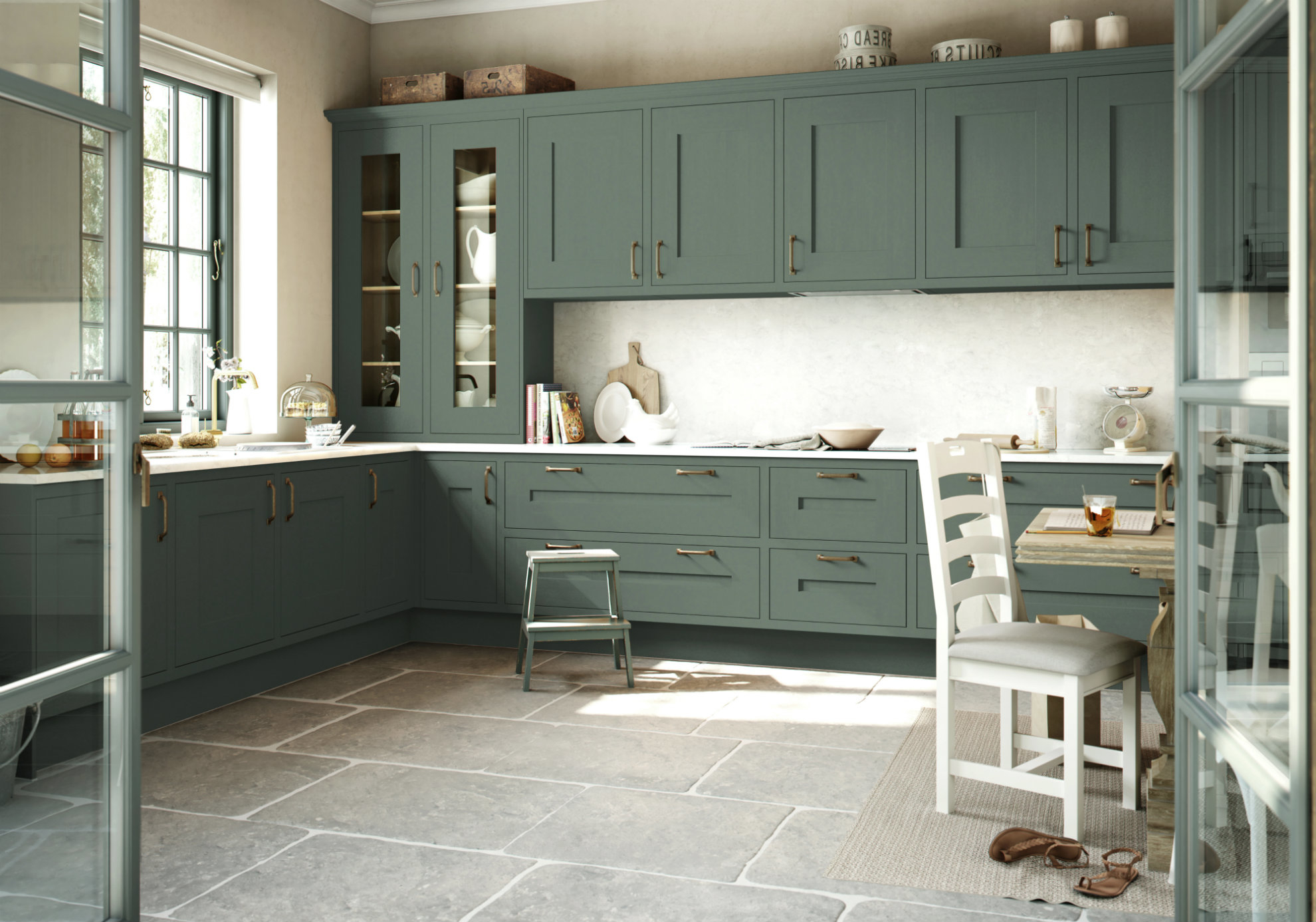 Gawsworth kitchen in green