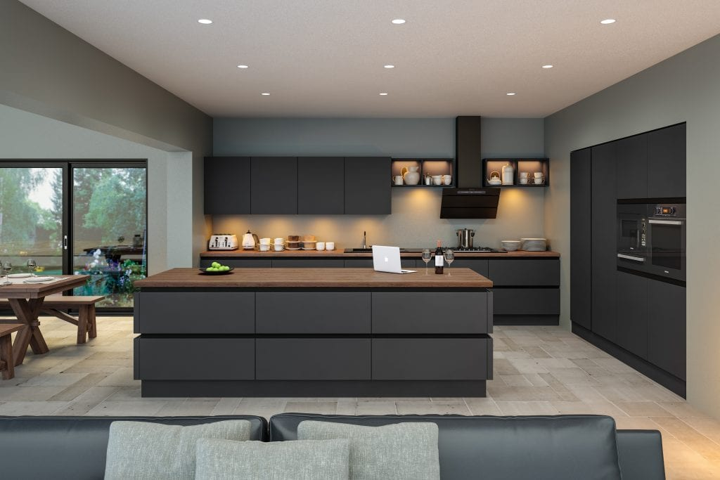 Handleless kitchen in supermatt grey