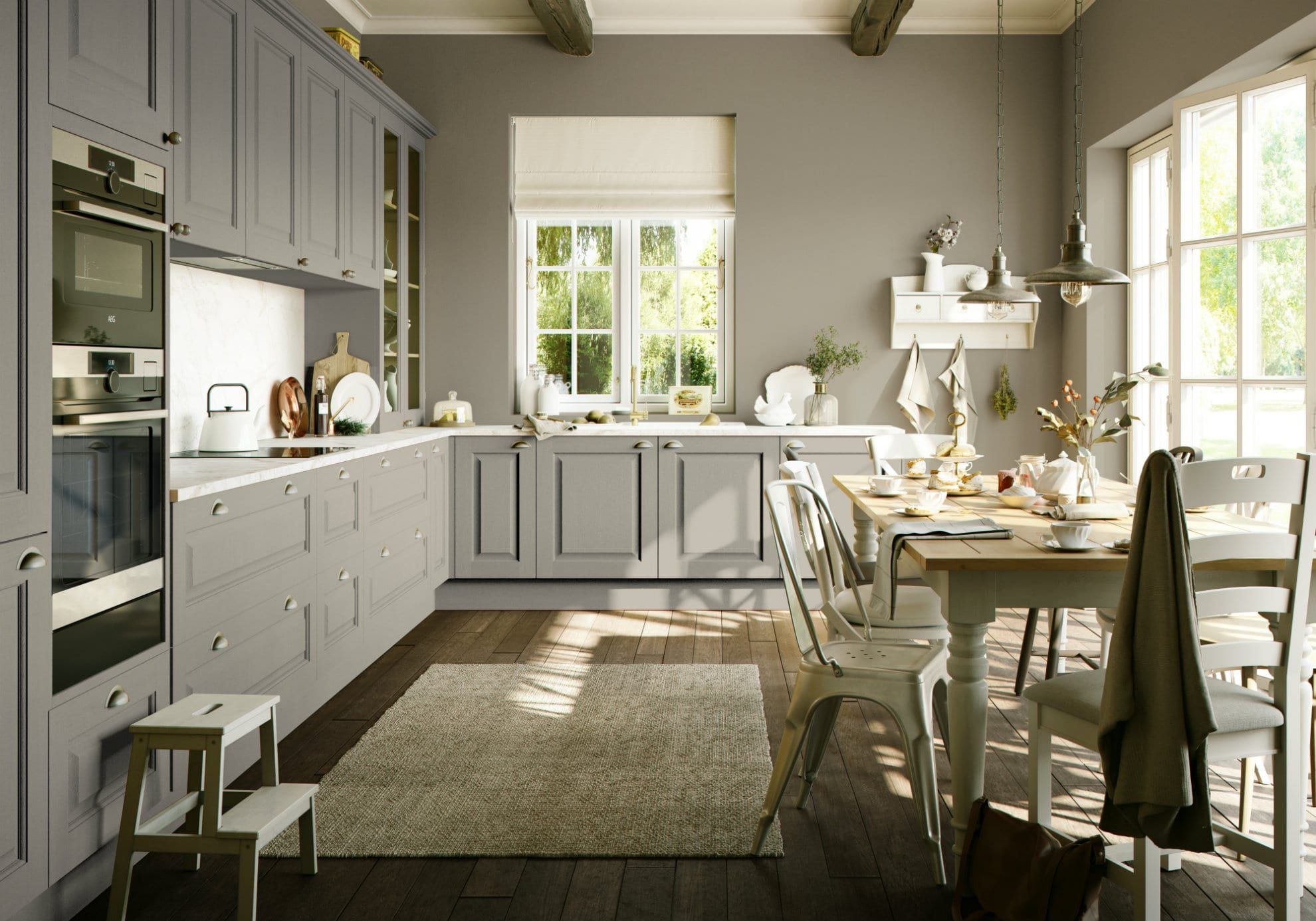 Raised and Fielded Cashmere Painted Kitchen