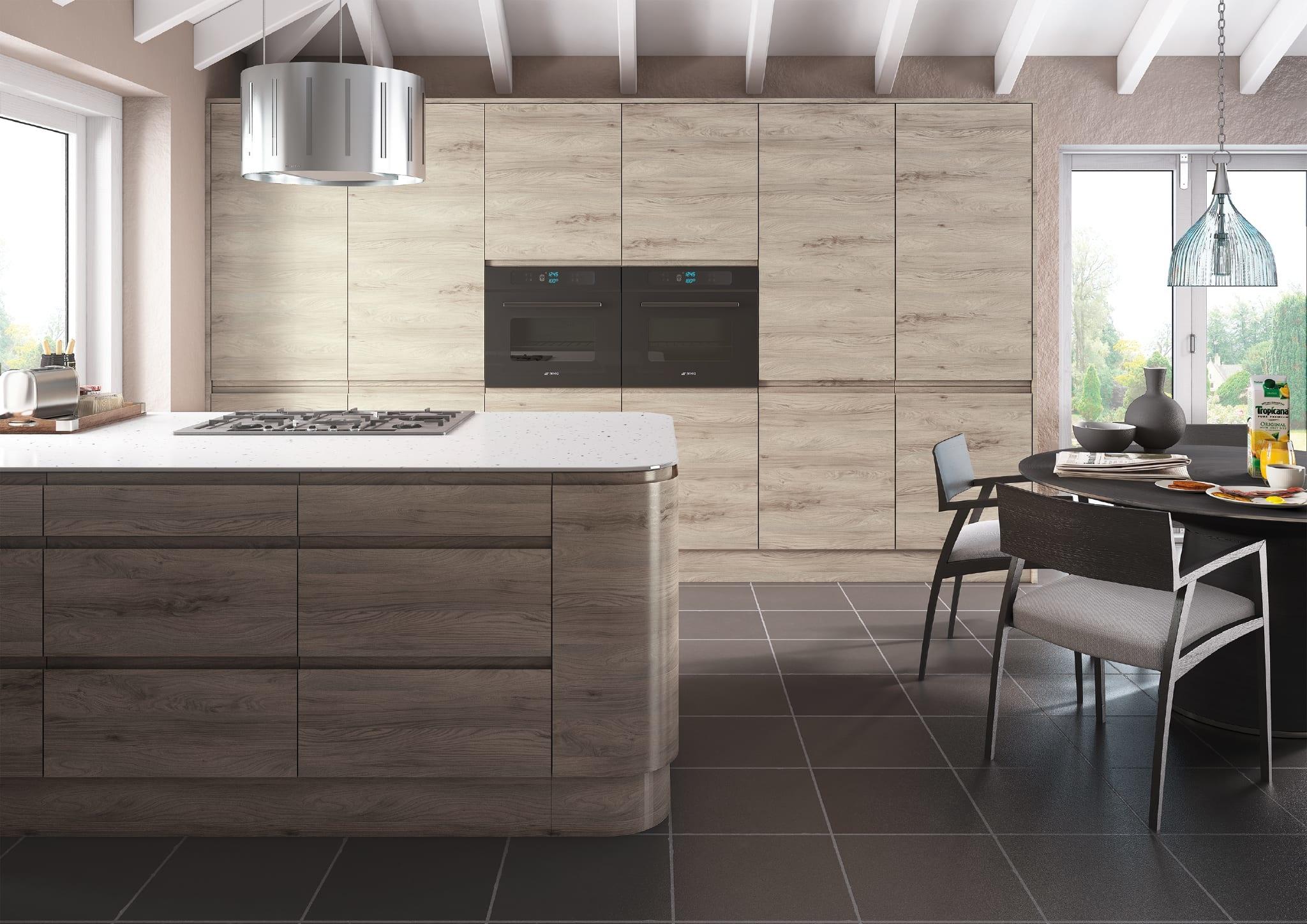 Handleless kitchen in elm