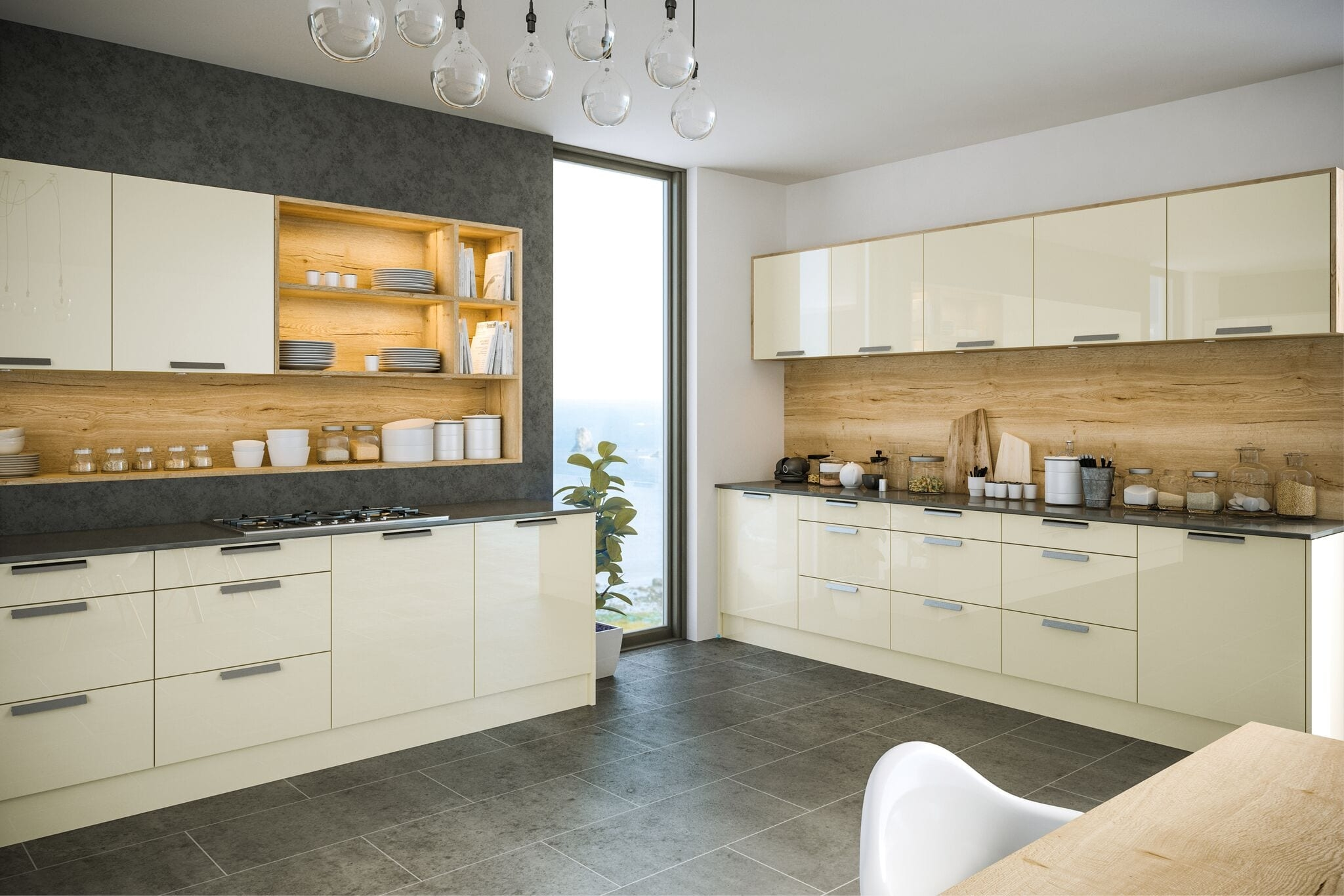 Firbeck kitchen in light grey and white