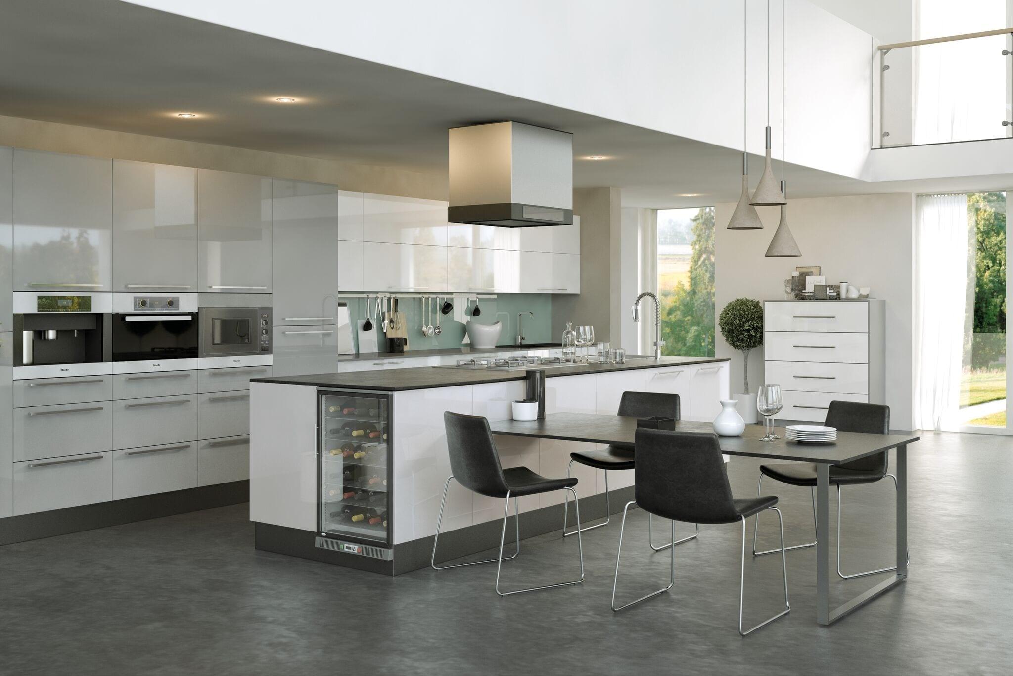 Firbeck flat panel kitchen in light grey