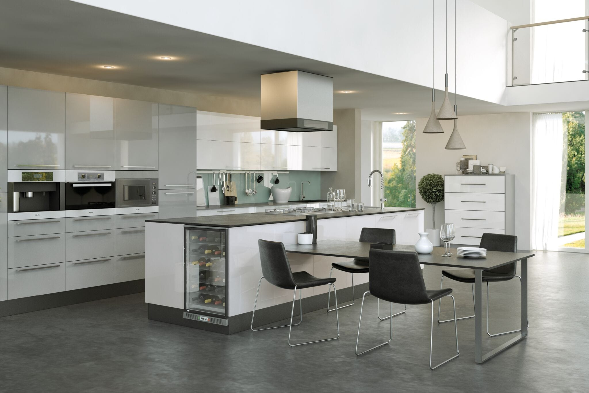 Firbeck flat panel kitchen in light grey