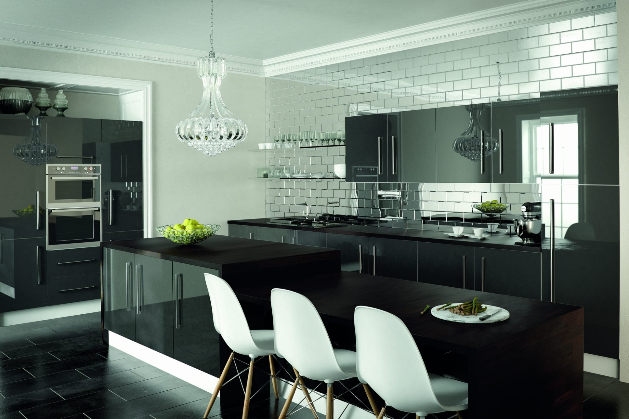 Kitchen in metallic anthracite grey