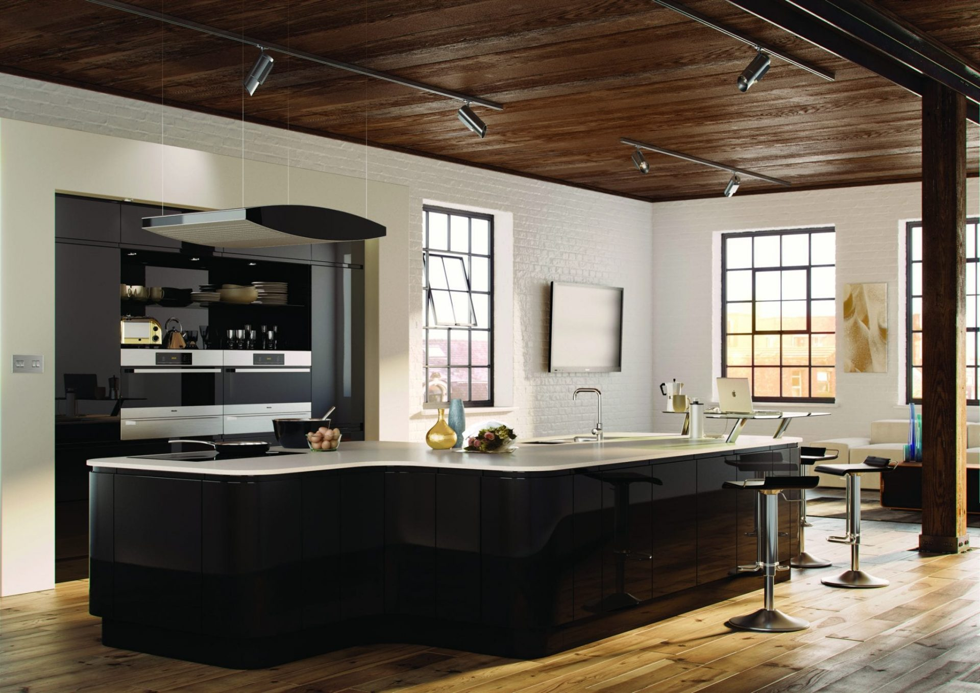 Black gloss kitchen with island