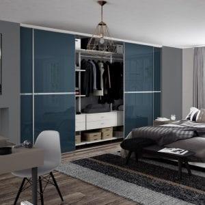Minimalist sliding doors in blue