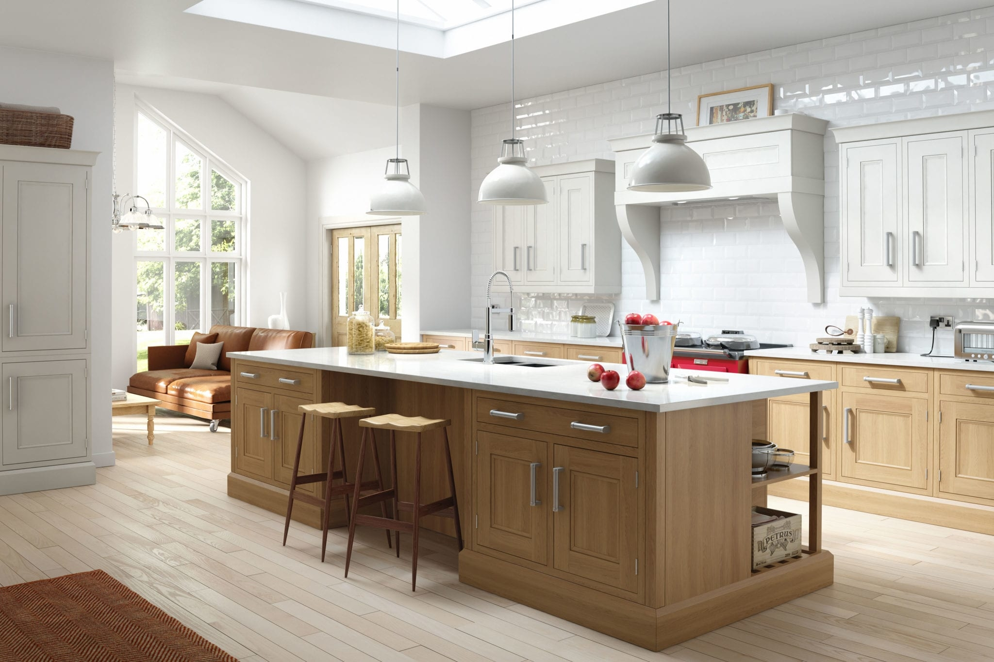 oak and ivory painted inframe kitchen