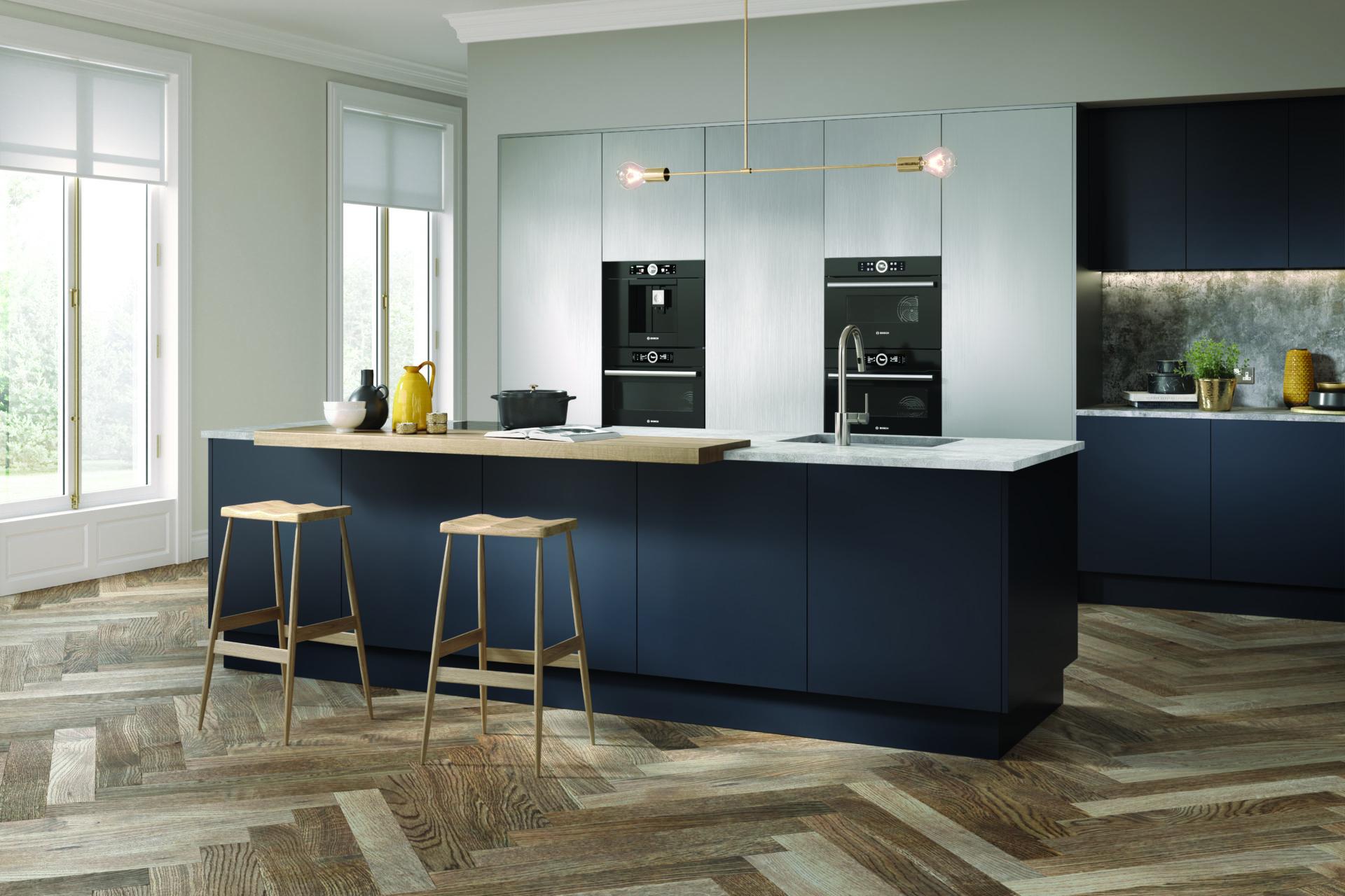 Flat panel blue kitchen