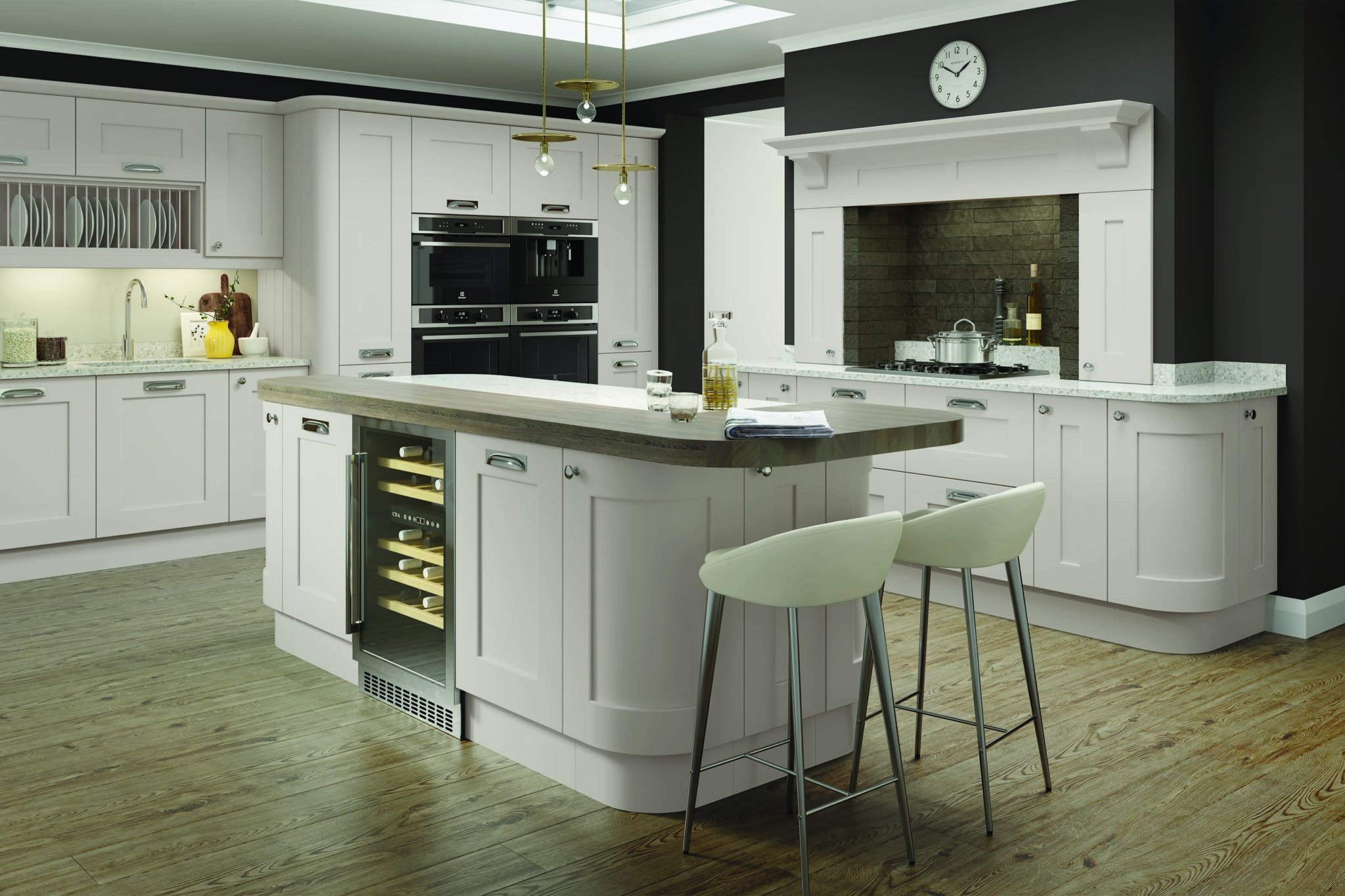 Ivory painted kitchen with curved units
