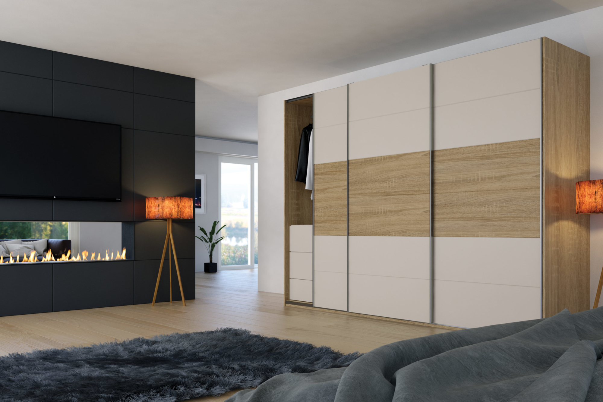 Cashmere Matt and Sonoma Natural Oak Sliding Wardrobes