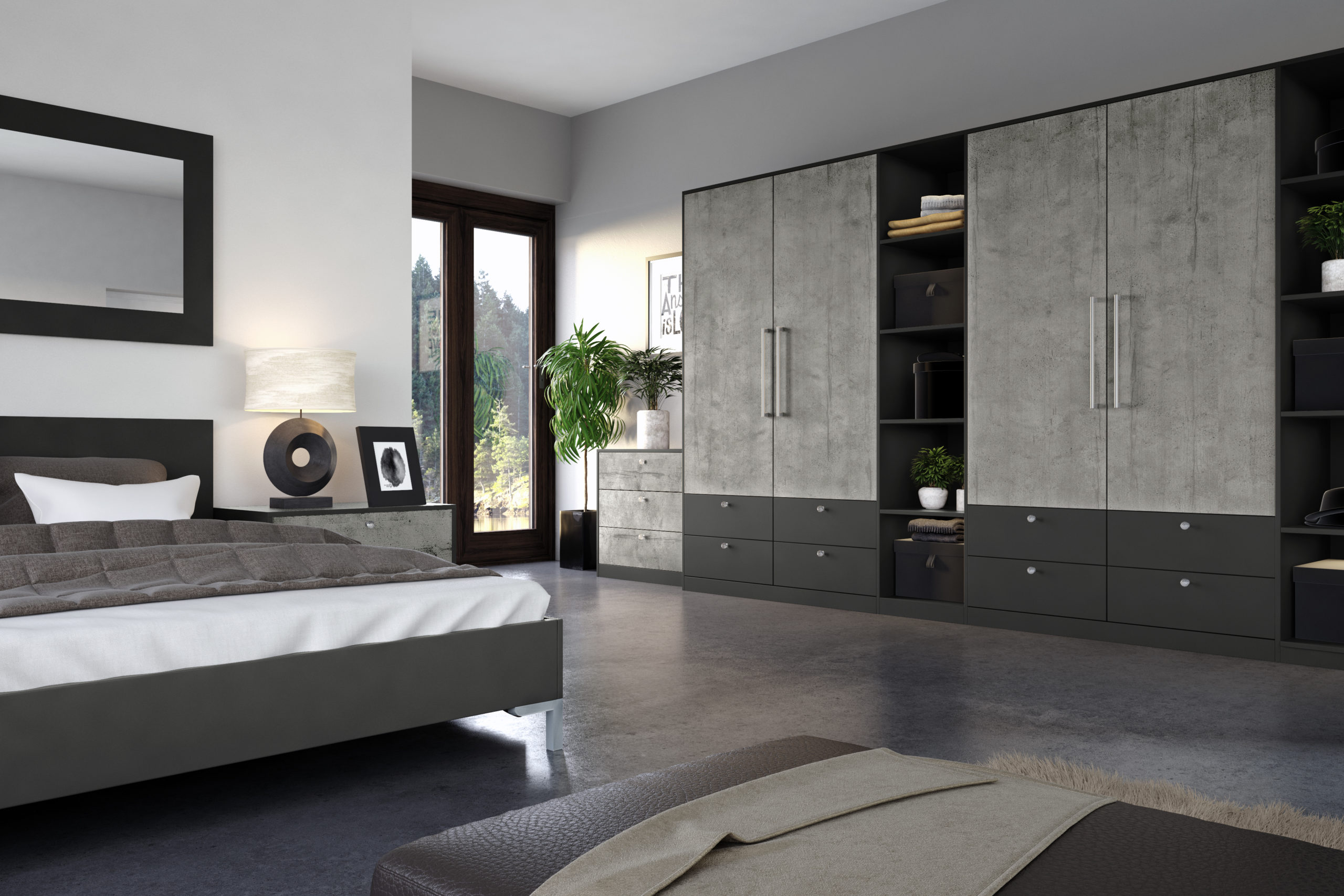 Smooth Concrete and anthracite designer bedroom