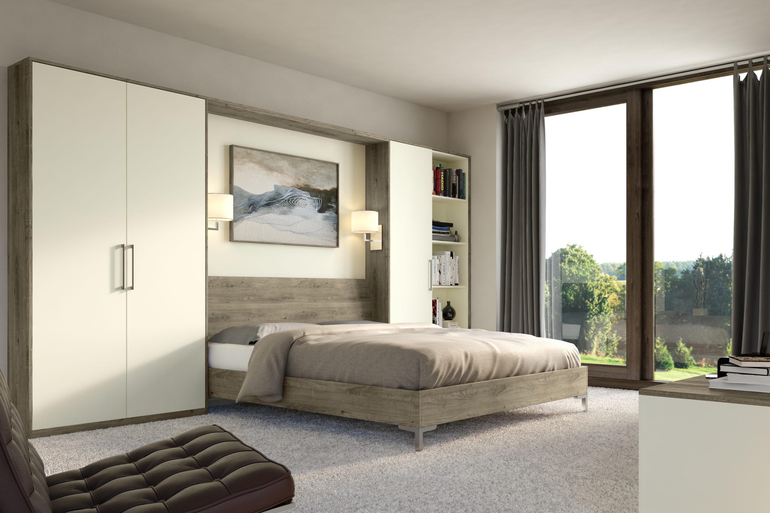 Cream and Denver oak fitted bedroom furniture