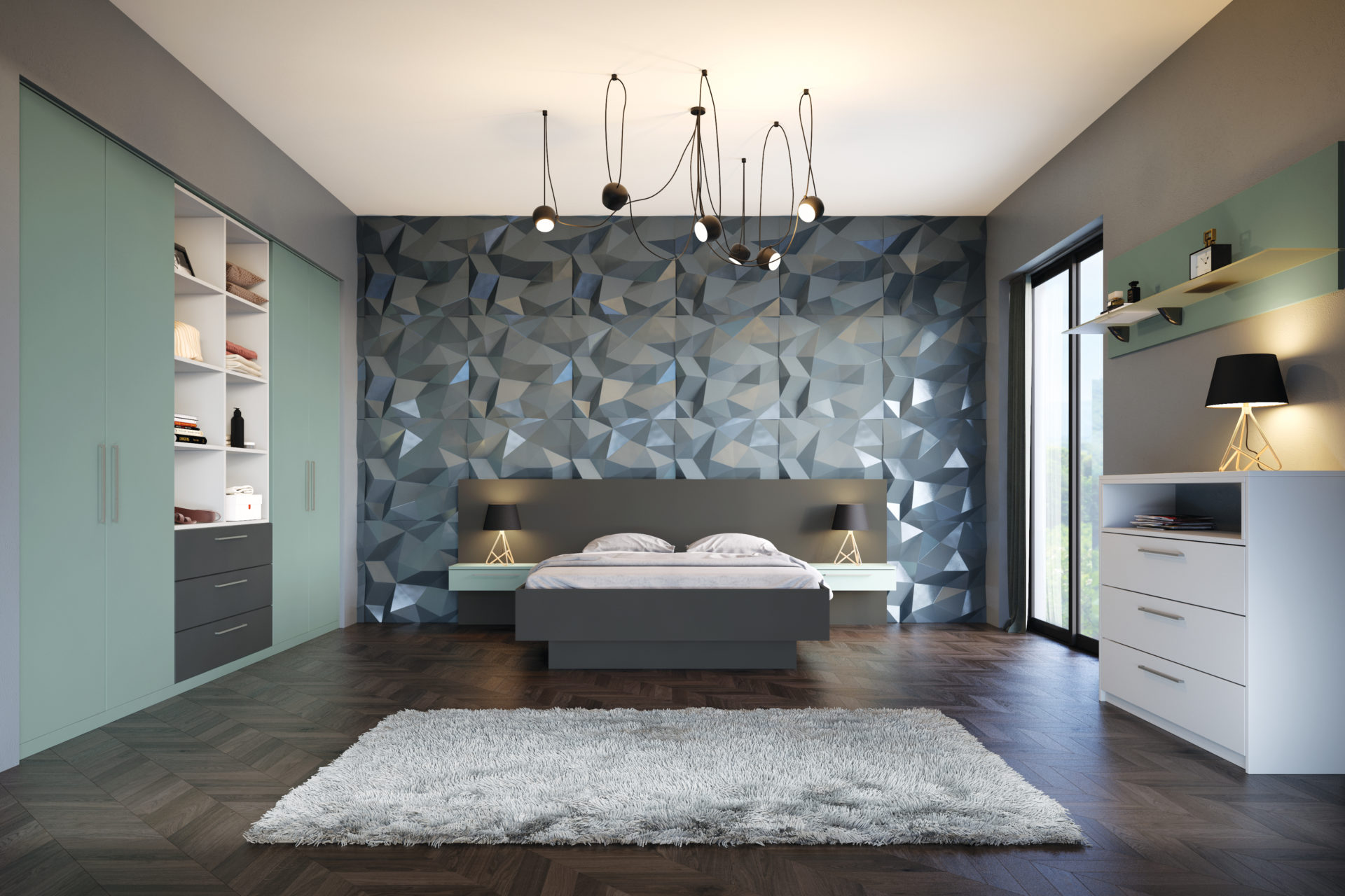 Fjord green and light grey bedroom