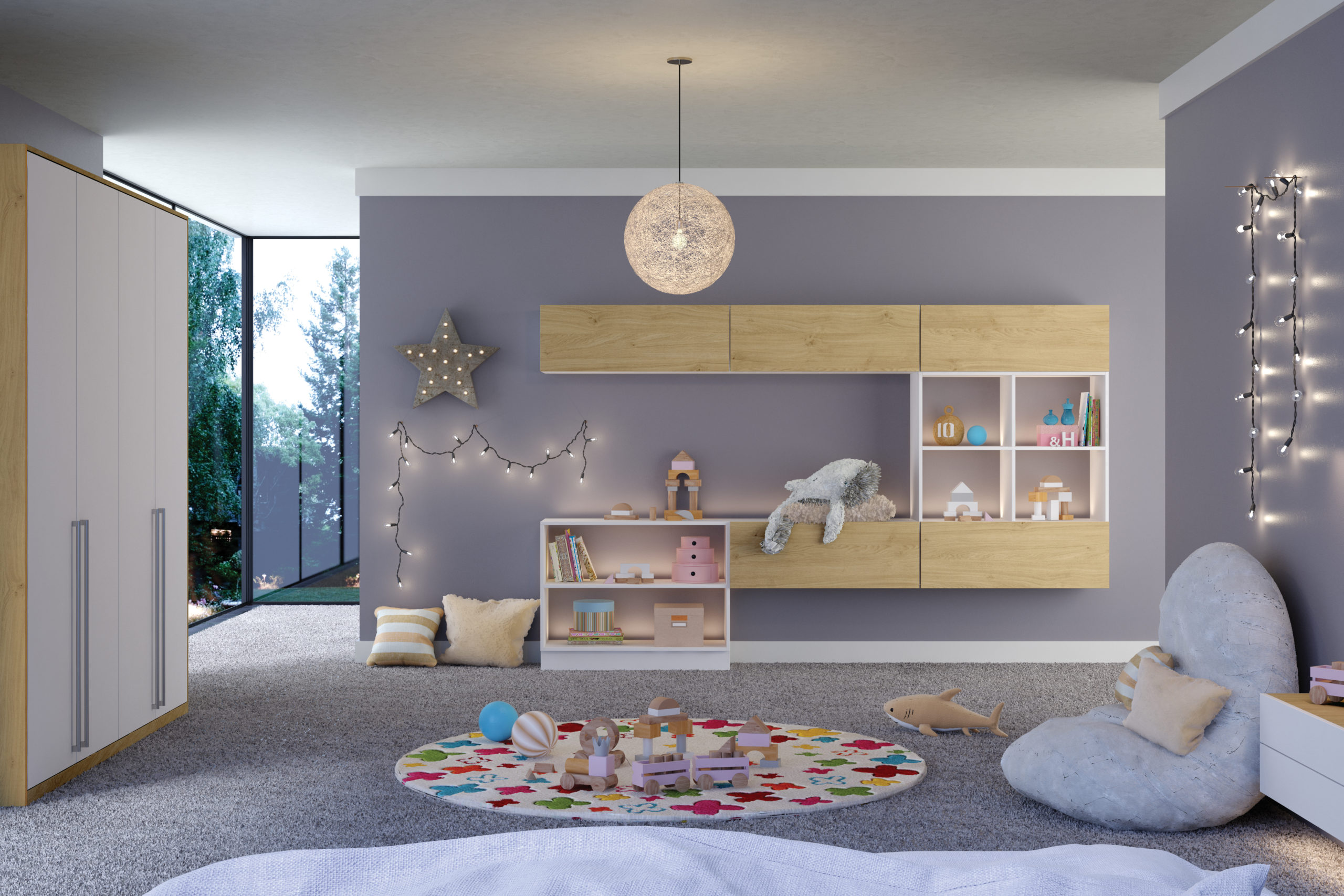 Childrens White and Oak bedroom furniture