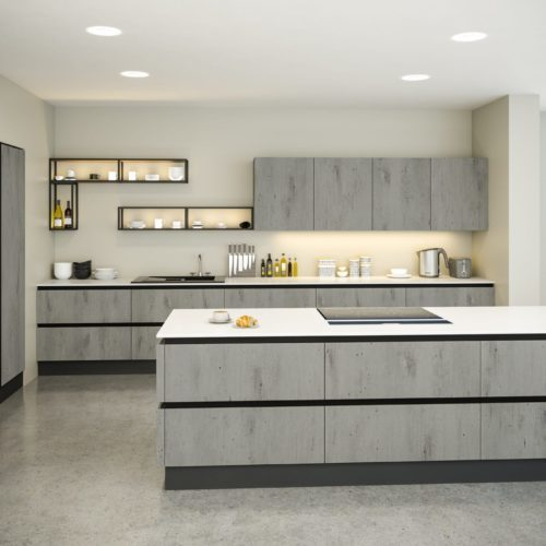 Handleless Concrete Style Kitchen