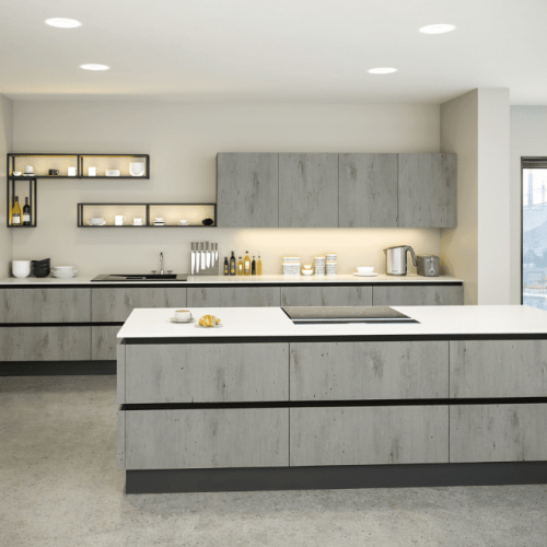 Handleless London Venice Kitchen In Concrete