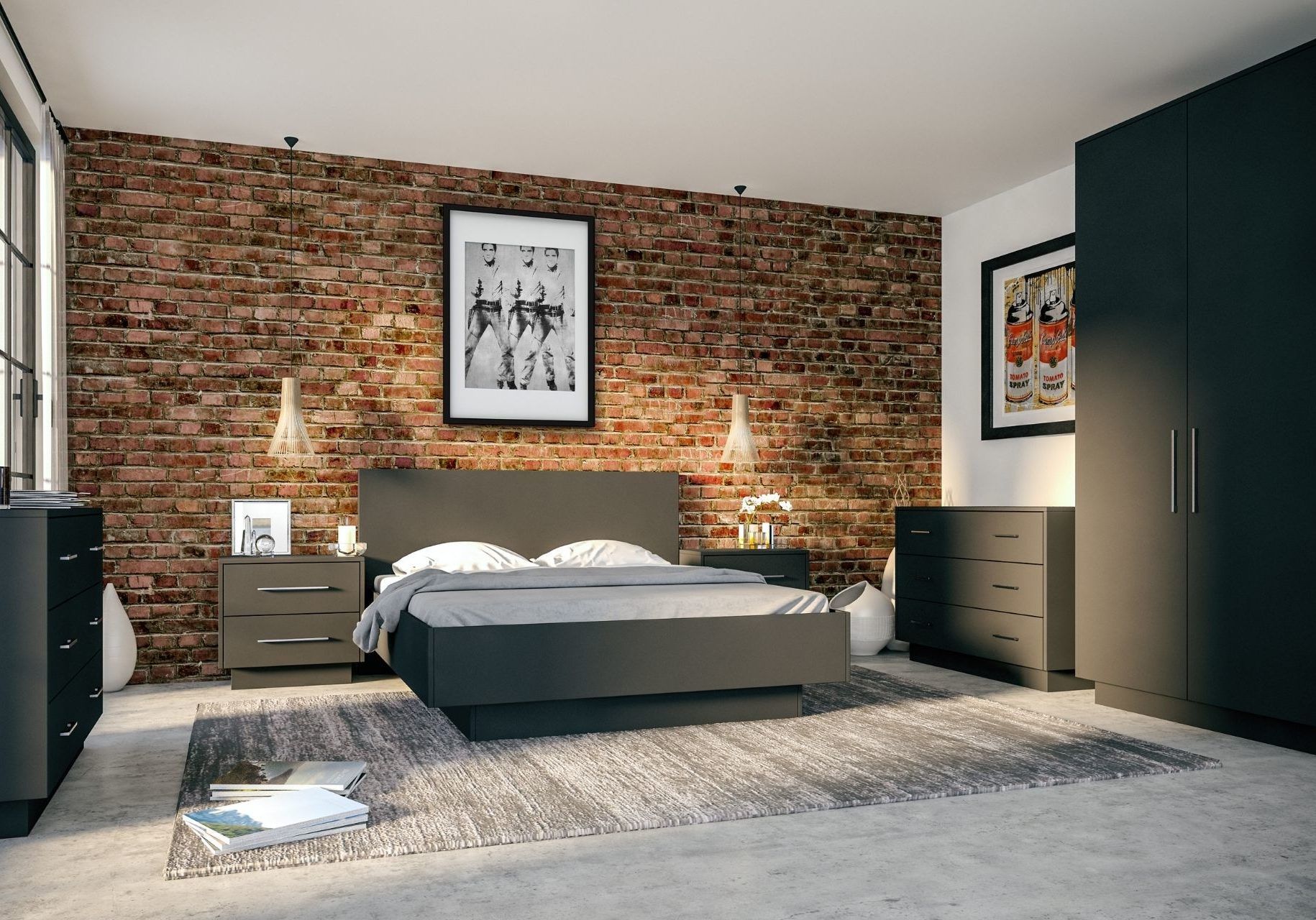 Modern Bedroom With Dark Finish